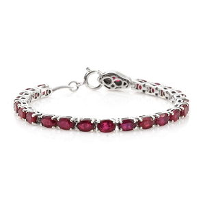 Niassa Ruby, Thai Black Spinel Platinum Over Sterling Silver Tennis Bracelet with Snake Spring Ring Clasp (6.50 In) Total Gem Stone Weight 15.88 Carat