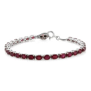 Niassa Ruby, Thai Black Spinel Platinum Over Sterling Silver Tennis Bracelet with Snake Spring Ring Clasp (8.00 In) Total Gem Stone Weight 20.18 Carat