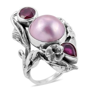 Bali Legacy Collection Mabe Pearl - Pink, Niassa Ruby Sterling Silver Ring (Size 7.0) 0 TGW 3.37 cts.