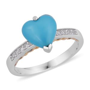 Arizona Sleeping Beauty Turquoise, Multi Gemstone 14K YG Over and Sterling Silver Heart Ring (Size 8.0) TGW 2.93 cts.