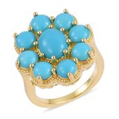 Arizona Sleeping Beauty Turquoise 14K YG Over Sterling Silver Ring (Size 6.0) TGW 3.75 cts.
