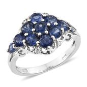 Masoala Sapphire, Cambodian Zircon Platinum Over Sterling Silver Floral Ring (Size 8.0) TGW 3.98 cts.