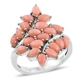 Oregon Peach Opal Platinum Over Sterling Silver Ring (Size 7.0) TGW 3.30 cts.