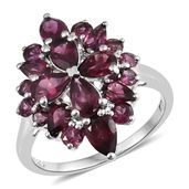 Dan's Jewelry Selections Orissa Rhodolite Garnet Platinum Over Sterling Silver Floral Ring (Size 5.0) TGW 4.84 cts.