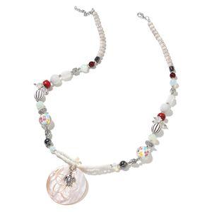 White Shell, Multi Gemstone Silvertone & Iron Necklace (30 in) TGW 30.00 cts.