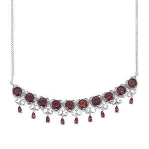 Mozambique Garnet Platinum Over Sterling Silver Heart Drop Bar Necklace (18 in) TGW 18.70 cts.