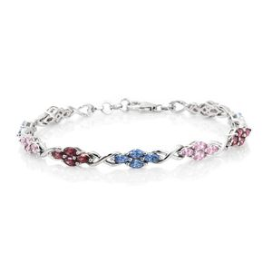 J Francis - Platinum Over Sterling Silver Bracelet Made with Multi Color SWAROVSKI ZIRCONIA (7.50 In) TGW 8.11 cts.