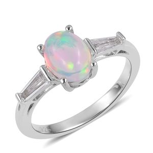 Ethiopian Welo Opal, White Topaz Sterling Silver Ring (Size 10.0) TGW 1.08 cts.
