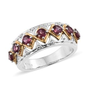 Orissa Rose Garnet ION Plated YG and Stainless Steel Ring (Size 6.0) TGW 1.65 cts.