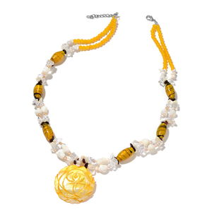 Yellow Glass, Multi Gemstone Silvertone & Iron Necklace (30 in) TGW 795.00 cts.
