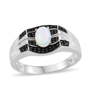 Ethiopian Welo Opal, Thai Black Spinel Platinum Over Sterling Silver Ring (Size 12.0) TGW 1.30 cts.