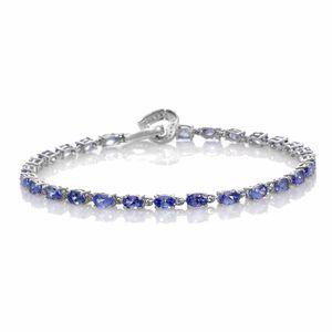 Tanzanite, Cambodian Zircon Platinum Over Sterling Silver Bracelet (8.00 In) Total Gem Stone Weight 7.05 Carat