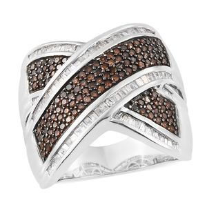 Red Diamond (IR), Diamond Black Rhodium & Platinum Over Sterling Silver Crossover Ring (Size 9.0) TDiaWt 1.51 cts, TGW 1.51 cts.
