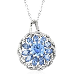J Francis - Platinum Over Sterling Silver Pendant With Chain (20 in) Made with SWAROVSKI Blue ZIRCONIA TGW 4.20 cts.