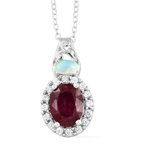 Niassa Ruby, Multi Gemstone Platinum Over Sterling Silver Pendant With Chain (20 in) TGW 2.90 cts.