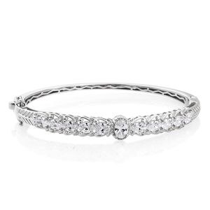 J Francis - Platinum Over Sterling Silver Bangle Made with SWAROVSKI ZIRCONIA (7.25 in) TGW 7.45 cts.