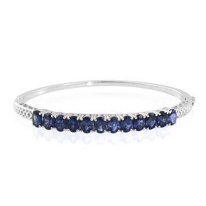 Masoala Sapphire Platinum Over Sterling Silver Bangle (7.50 in) TGW 12.90 cts.