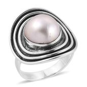 Bali Legacy Collection Mabe Pearl - White Sterling Silver Ring (Size 7.0)
