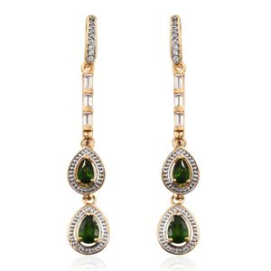 GP Russian Diopside, White Topaz, Kanchanaburi Blue Sapphire Vermeil YG Over Sterling Silver Dual Drop Earrings TGW 5.67 cts.