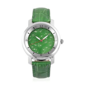 EON 1962 Burmese Green Jade Swiss Movement Water Resistant Watch with Green Genuine Leather Strap & Stainless Steel Back TGW 25.00 cts.