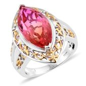 Arizona Sunset Quartz 14K YG and Platinum Over Sterling Silver Ring (Size 8.0) TGW 9.00 cts.