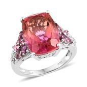 Arizona Sunset Quartz, Multi Gemstone Platinum Over Sterling Silver Ring (Size 9.0) TGW 12.00 cts.