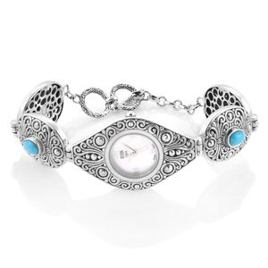 EON 1962 Mojave Sleeping Beauty Turquoise Swiss Movement Water Resistant Bracelet Watch in Sterling Silver TGW 2.57 cts.