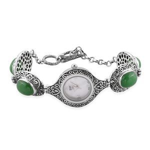 EON 1962 Burmese Green Jade Swiss Movement Sterling Silver Water Resistant Bracelet Watch with Stainless Steel Back TGW 23.30 cts.