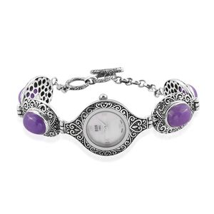 EON 1962 Burmese Lavender Jade Swiss Movement Sterling Silver Water Resistant Bracelet Watch with Stainless Steel Back TGW 24.80 cts.
