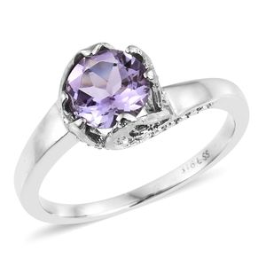 Rose De France Amethyst, Lab Created Pink Sapphire Stainless Steel Leaf Bypass Ring (Size 7.0) TGW 1.90 cts.