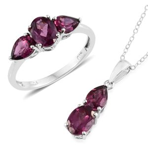 Orissa Rhodolite Garnet Platinum Over Sterling Silver Ring (Size 7) and Pendant With Chain (20 in) TGW 5.70 cts.