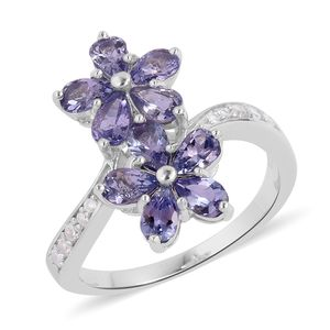 Tanzanite, White Zircon Sterling Silver Floral Bypass Ring (Size 8.0) TGW 2.19 cts.
