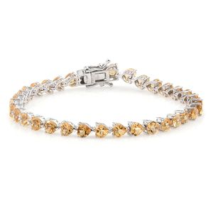 TLV Brazilian Citrine Platinum Over Sterling Silver Bracelet (8.00 In) TGW 16.17 cts.