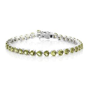 TLV Hebei Peridot Platinum Over Sterling Silver Bracelet (8.00 In) TGW 16.17 cts.