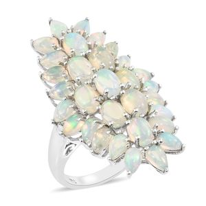 Ethiopian Welo Opal Platinum Over Sterling Silver Elongated Ring (Size 6.0) TGW 5.75 cts.