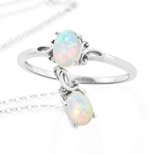 Ethiopian Welo Opal Platinum Over Sterling Silver Ring (Size 8) and Pendant With Chain (20 in) TGW 1.06 cts.
