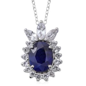 Masoala Sapphire, White Topaz Sterling Silver Pendant With Chain (18 in) TGW 4.90 cts.