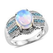 Ethiopian Welo Opal, Multi Gemstone Platinum Over Sterling Silver Ring (Size 9.0) TGW 3.62 cts.