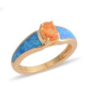 Jalisco Fire Opal, Lab Created Opal 14K YG Over Sterling Silver Ring (Size 10.0) TGW 0.30 cts.