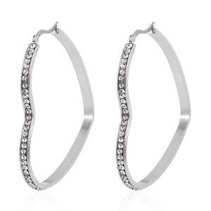 Simulated Diamond Stainless Steel Heart Hoop Earrings