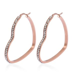White Austrian Crystal ION Plated RG Stainless Steel Heart Hoop Earrings