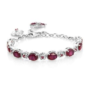 Niassa Ruby Platinum Over Sterling Silver Ballerina and Clover Charm Bracelet (6.00-7.50In) TGW 9.96 cts.
