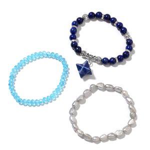 Lapis Lazuli, Multi Gemstone Black Oxidized Silvertone Set of 3 Bracelet with Star Charm (7-7.5In) TGW 191.60 cts.