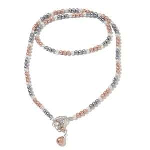 Multi Color Simulated Pearl, Simulated Multi Gemstone Dark Silvertone Lariat Necklace (42 in)