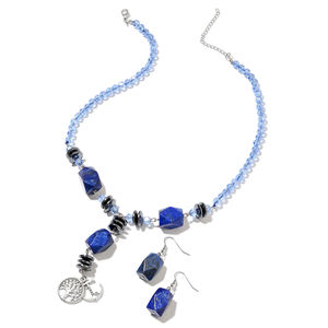 Lapis Lazuli, Hematite, Simulated Blue Topaz Black Oxidized Silvertone & Stainless Steel Earrings and Necklace (18 in) TGW 301.00 cts.