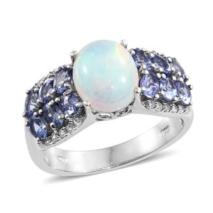 Ethiopian Welo Opal, Multi Gemstone Platinum Over Sterling Silver Ring (Size 7.0) TGW 4.70 cts.