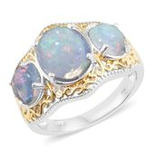 Ethiopian Welo Opal 14K YG and Platinum Over Sterling Silver Openwork Trilogy Ring (Size 8.0) TGW 4.30 cts.