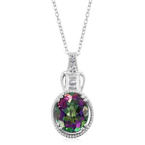 Northern Lights Mystic Topaz, White Topaz Platinum Over Sterling Silver Pendant With Chain (20 in) TGW 5.49 cts.
