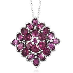 Orissa Rhodolite Garnet Platinum Over Sterling Silver Floral Pendant With Chain (20 in) TGW 4.82 cts.