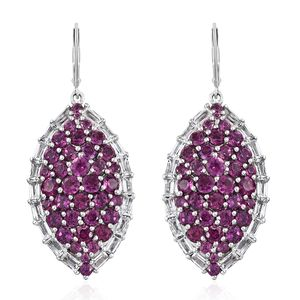 Orissa Rhodolite Garnet, White Topaz Platinum Over Sterling Silver Earrings TGW 10.18 cts.